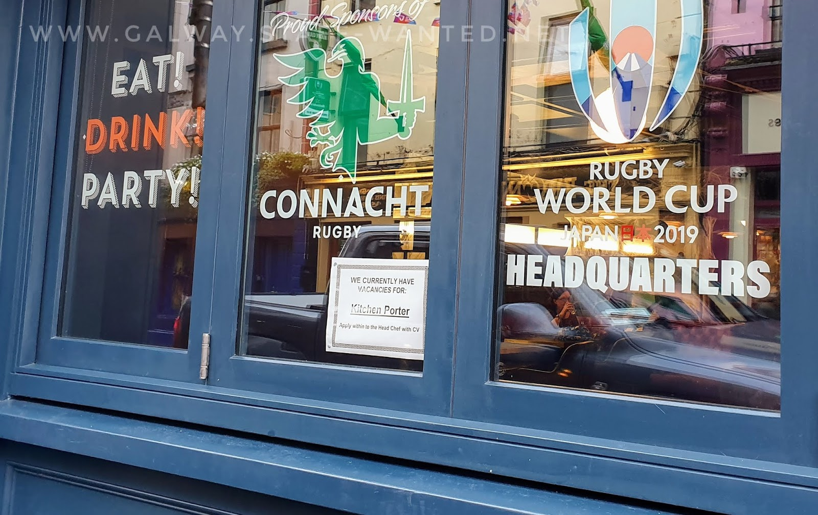 Busker Browne's window - Galway Ireland rugby World cup 2019 headquarters