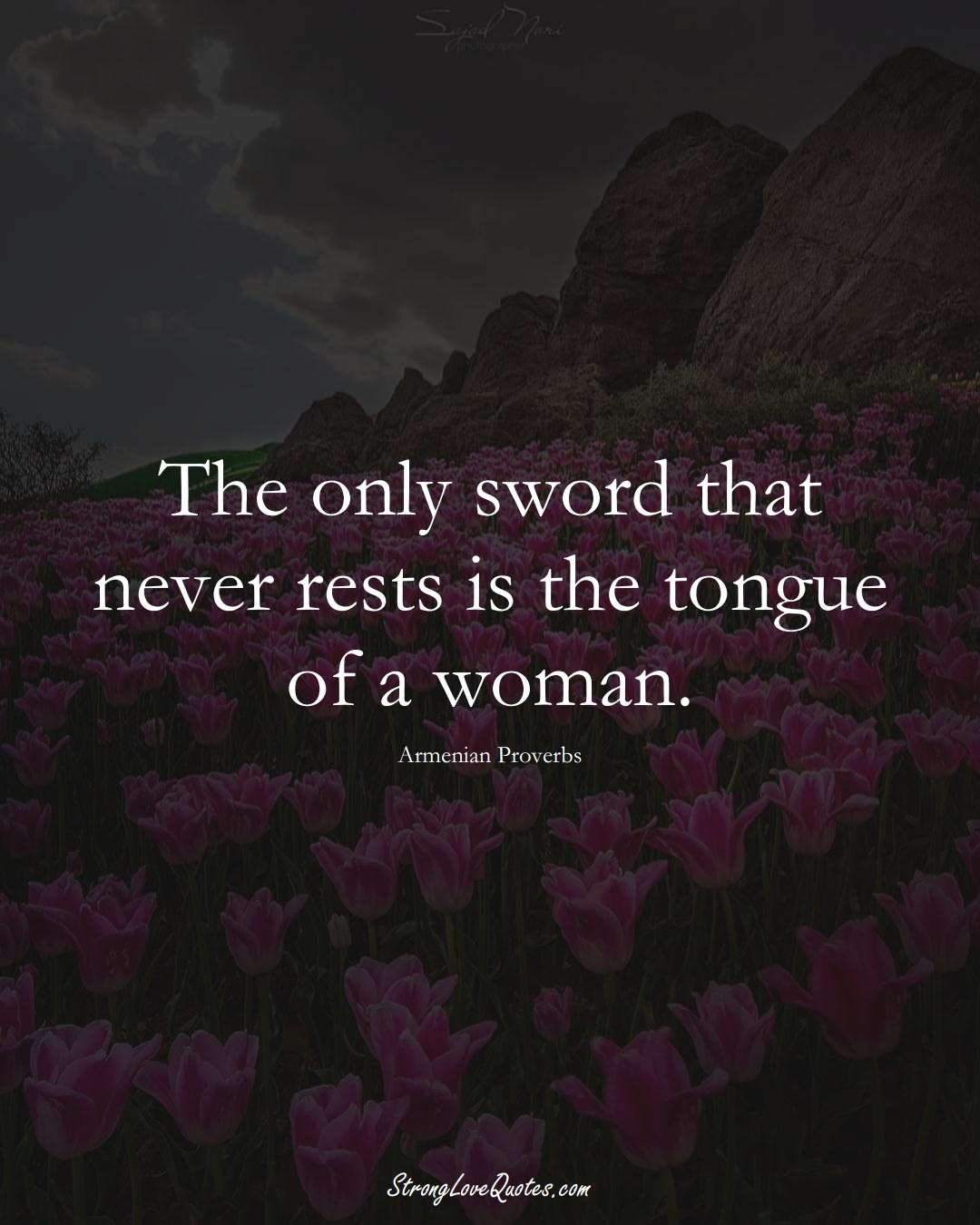 The only sword that never rests is the tongue of a woman. (Armenian Sayings);  #AsianSayings