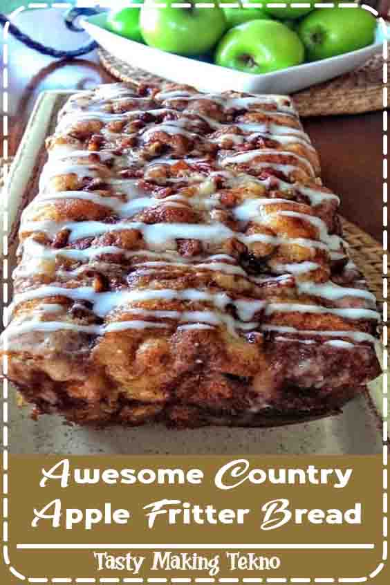 Fluffy, buttery, white cake loaf loaded with chunks of apples and layers of brown sugar and cinnamon swirled inside and on top. Simply Irresistible!