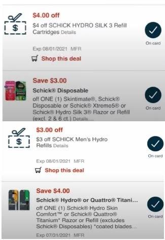 Schick Hydro men's refills CVS crt store Coupon (Select CVS Couponers)