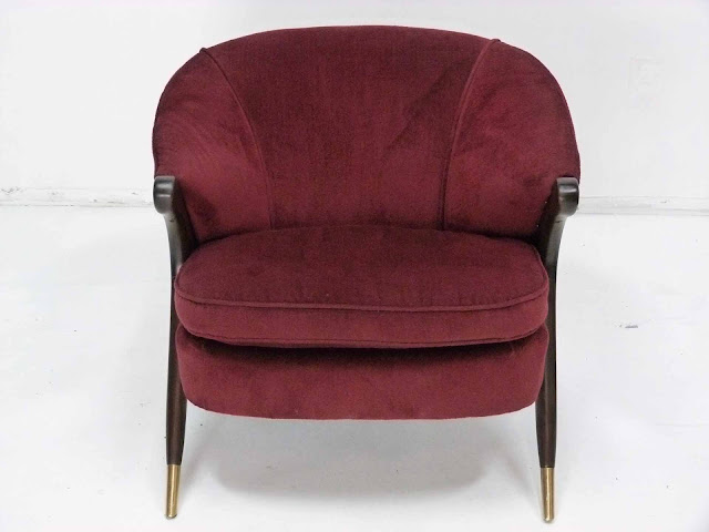 Karpen Modernist Lounge Chair Tripod Legs Brass Sabots mid century Front