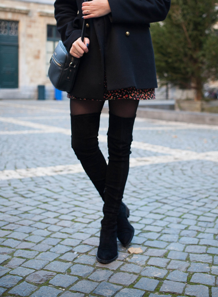 Outfit: thigh high boots and military jacket