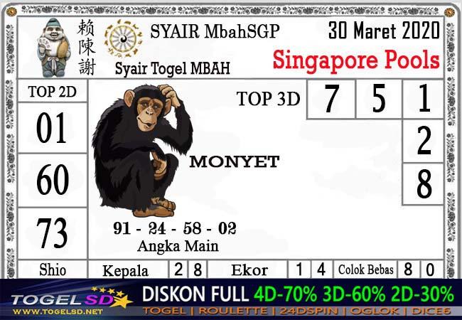 Bocoran Togel Singapura Senin 30 Maret 2020 - Syair Mbah SGP