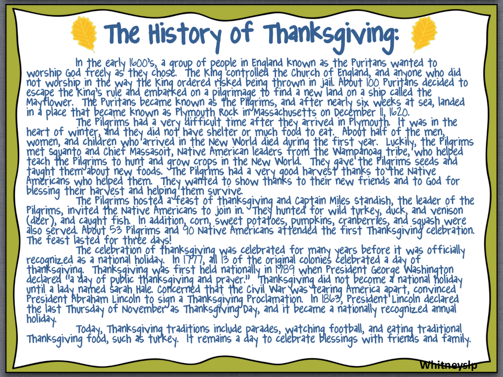Let S Talk With Whitneyslp The History Of Thanksgiving