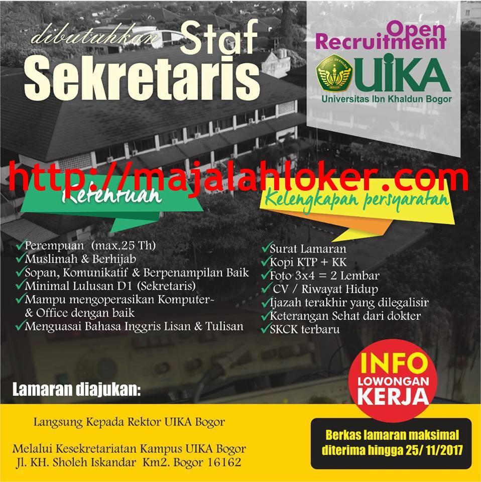 Lowongan Staf Sekretaris Universitas Ibn Khaldun (UIKA) Bogor