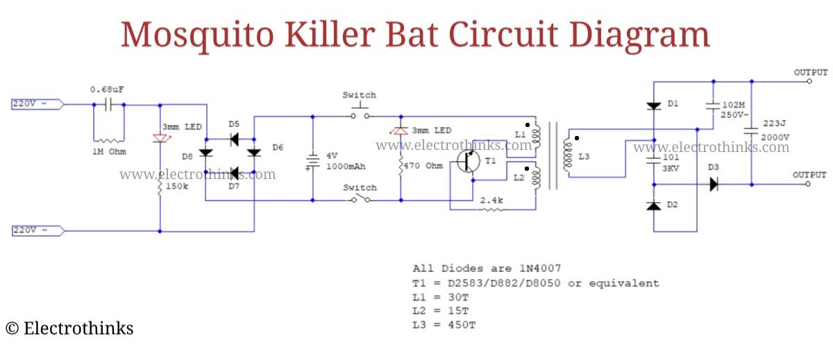 Electrothinks: Mosquito Killer Bat Circuit Working Explanation