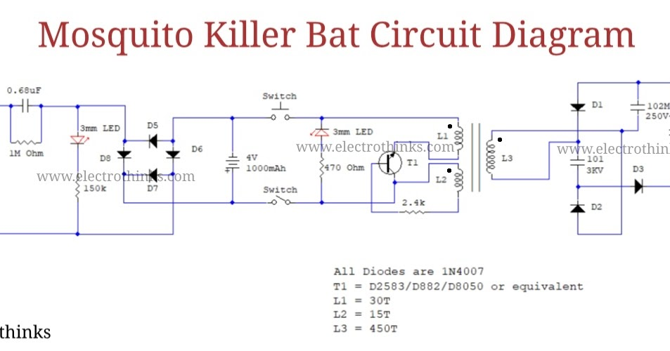 Mosquito Killer Racket Circuit Diagram - Pest Control Diagram