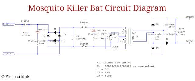 Schematic of Mosquito killer bat circuit