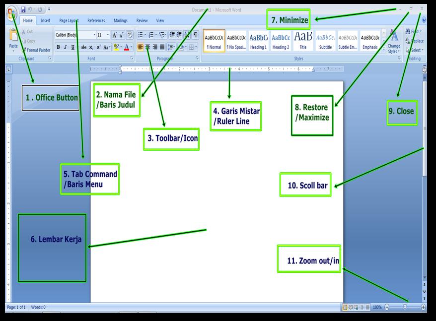 Mengenal jendela Microsoft Office Word 2007 | Belajar ...