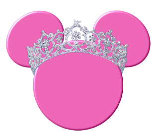 cabeza de minnie mouse de color rosa con corona