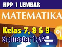 Download RPP 1 Lembar Matematika SMP/MTs 2020 Lengkap Format Word