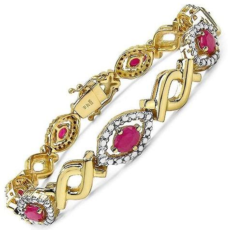 Majesty Diamonds silver and ruby bracelet