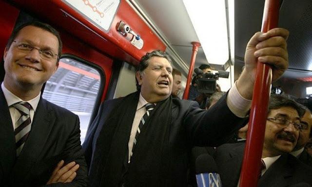 Alan Garcia en Línea 1 del Metro de Lima