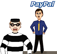 Cartoon of crook thwarted by PayPal