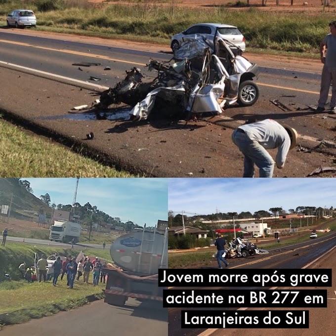 Jovem morre após grave acidente na BR 277 em Laranjeiras do Sul