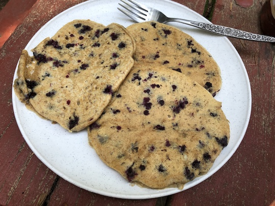 Fresh vegan huckleberry pancakes at Glacier
