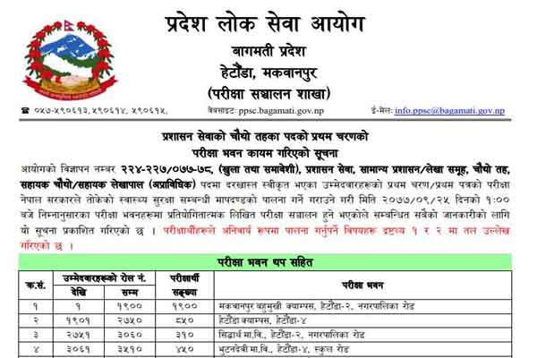 Bagmati Pradesh Loksewa Exam Hall Detail