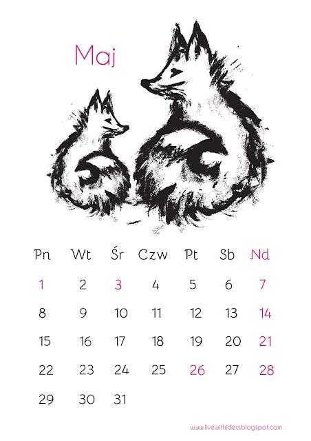 kalendarz diy druk maj 2017 ilustracja