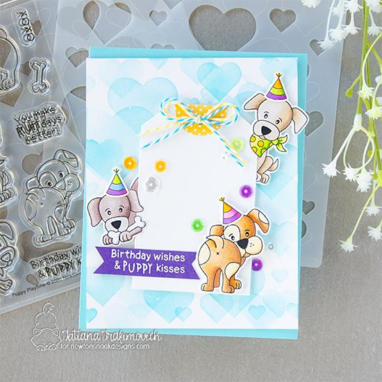 Puppy Birthday Card by Tatiana Trafimovich | Puppy Playtime Stamp Set, Bokeh Hearts Stencil Set and Fancy Edges Tag Die Set by Newton's Nook Designs #newtonsnook #handmade