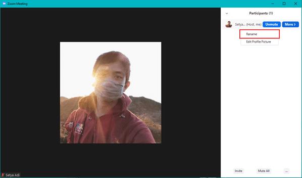 ganti nama di aplikasi Zoom Windows