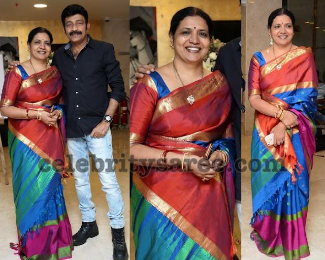 Jeevitha Rajashekar Tri Color Silk Sari