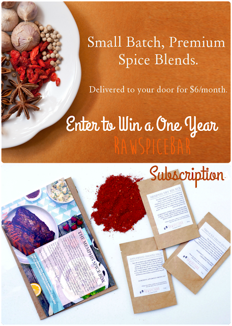 Get entered to win a 1 year subscription to RawSpiceBar- small batch spice blends delivered to your door monthly! Ends 11/29/15.