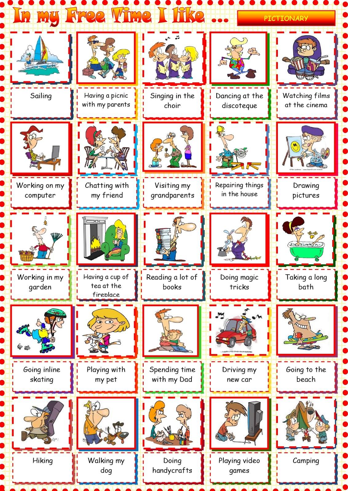 Free Time Vocabulary Unit 4 Mi Pizarra Con Garabatos