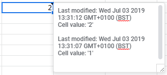 Screenshot of cell with Note showing edit history