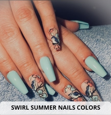 Swirl summer nails colors