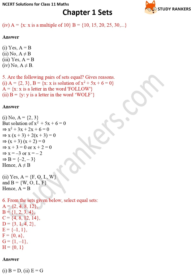 NCERT Solutions for Class 11 Maths Chapter 1 Sets 5