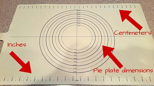 Pastry Mat Showing Measurements