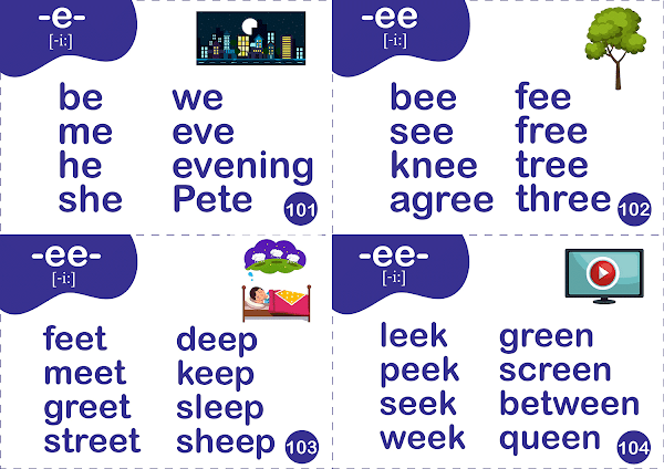 Long E sound words - printable flashcards for ESL students