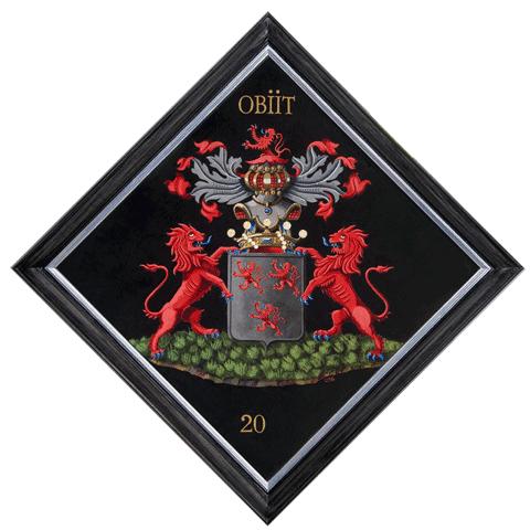 Tableau armorié sur bois, 80 x 80 cm, van der Beken Pasteel. Par Nolet de Brauwere.