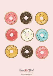Mama Love Print Printable -  Nursey Donut Poster Free Download Freebies Printable for Home Decoration Print Gift Art