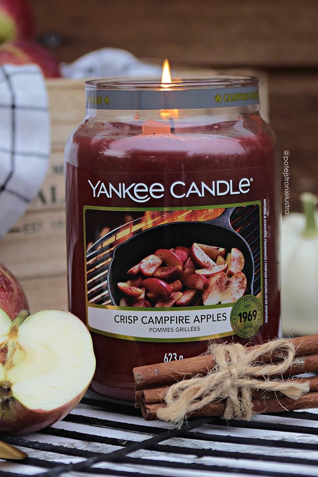 yankee candle crisp campfire apples q3 2020 świeca o zapachu jabłek z cynamonem, szarlotki