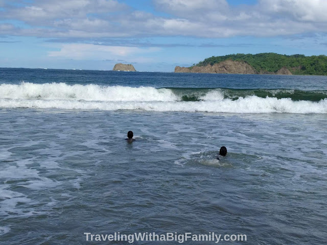 Swimming in the Pacific Ocean with a Big Family in Costa Rica