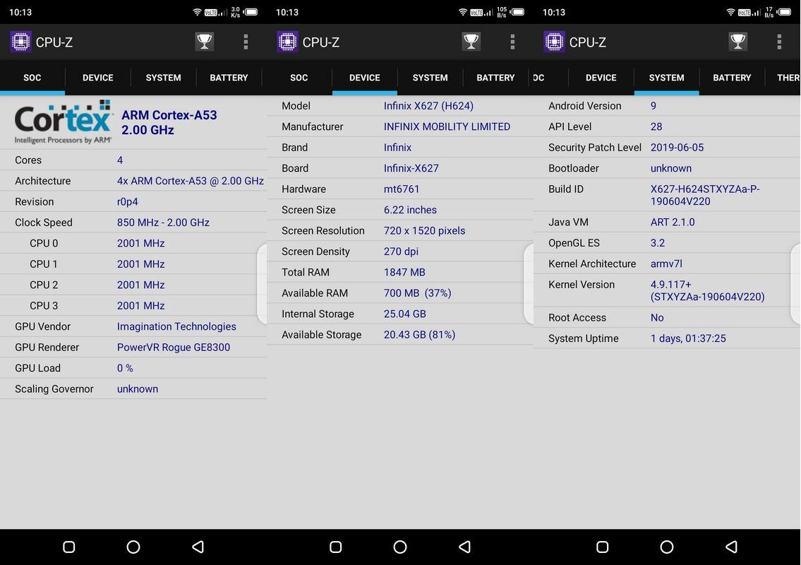 CPU-Z Infinix Smart 3 Plus X627