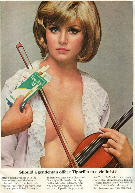 Vintage cigarette ad: Should a gentleman offer a tiparillo to a violinist?