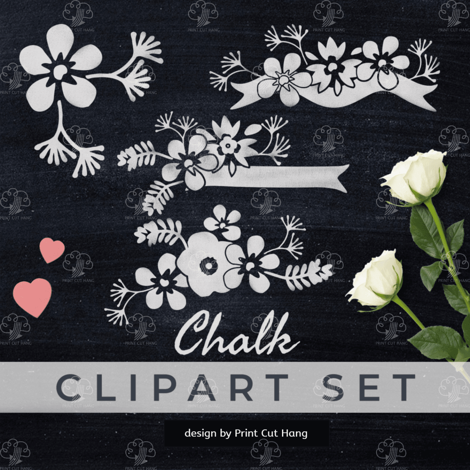 CLIPART Chalk Flowers