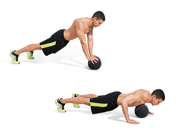 Best Chest Exercises of All Time - 30 Exercise - Medicine Ball Push Up Drop & Pop