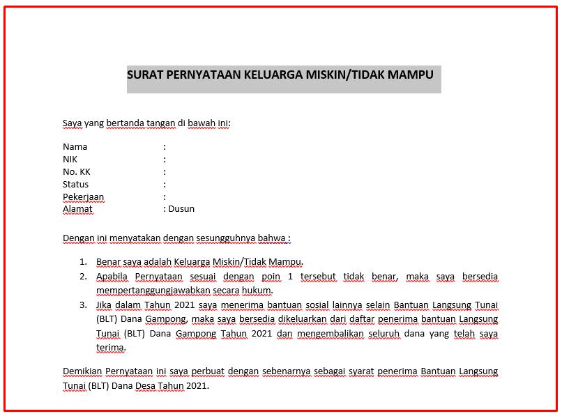 Download Surat Pernyataan Keluarga Miskin Download Surat Pernyataan Keluarga Miskin/Tidak Mampu