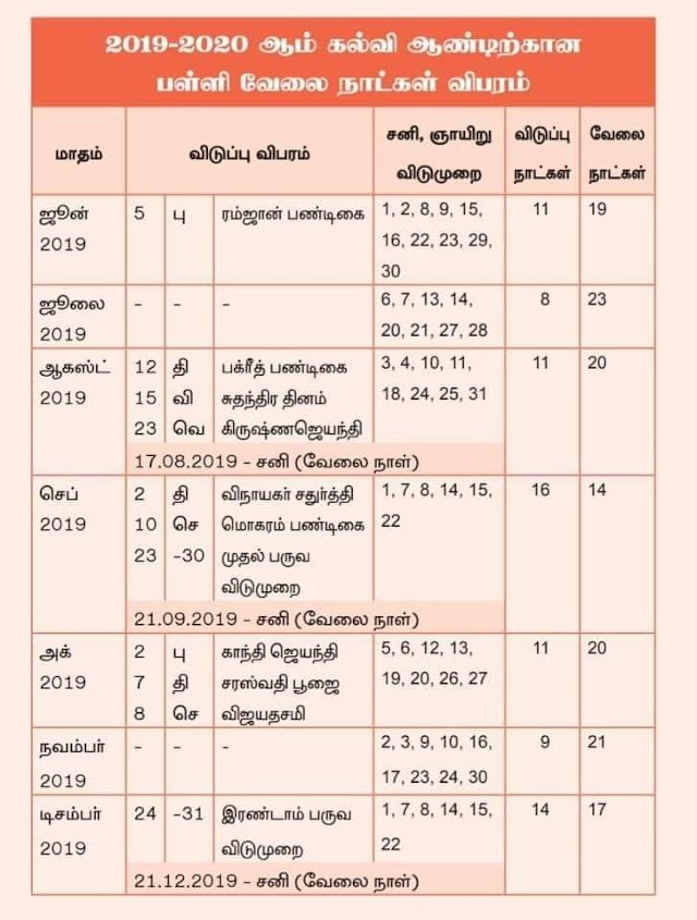 2019- 20 School working Days And Holiday Day New List