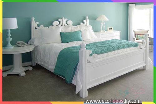 غرفة انيقة للنوم باللون الفيروزي والرمادي