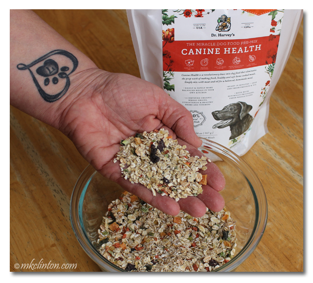 Dr. Harvey's Canine Health pre-mix dog food is dehydrated and simple to use.