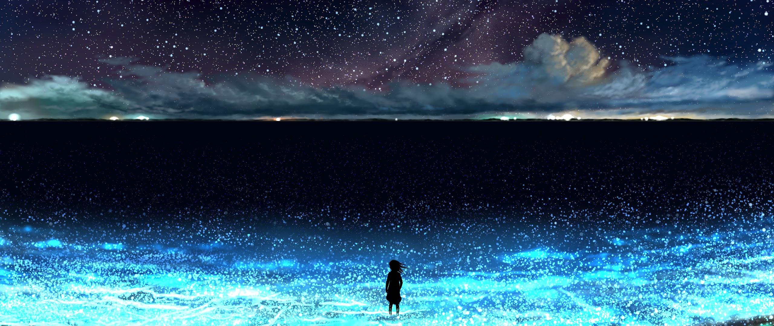 Anime Night Sky Stars Beach Scenery 4k Wallpaper 88