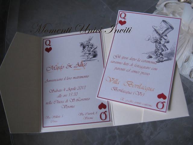 ali Partecipazione tema Alice nel paese delle meravigliePartecipazioni Pocket Tema Alice in wonderland