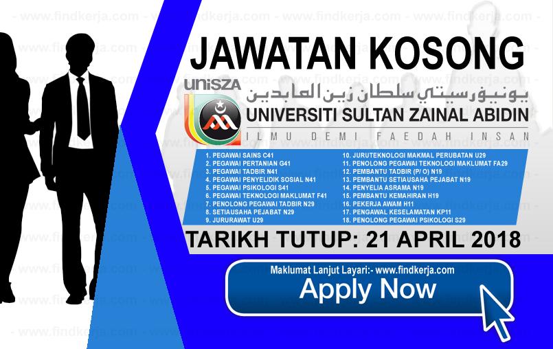 Jawatan Kerja Kosong UniSZA - Universiti Sultan Zainal Abidin logo www.findkerja.com april 2018