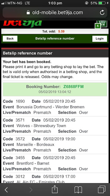 FREE 5 BET9JA ODDS FOR THIS EVENING, IT IS 100% SURE AND