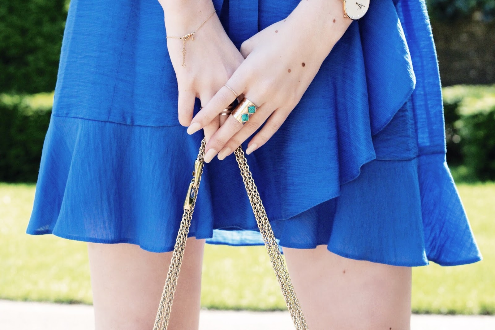 Blue Ruffled Mini Wrap Dress