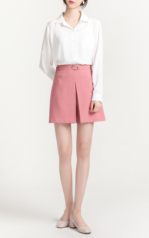 Belted Pleated Front Mini Skirt